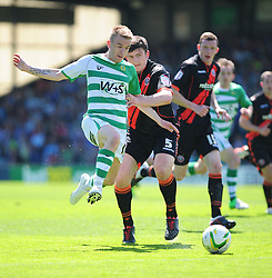 Sheffield United's Harry Maguire pulls back and fouls Yeovil Town's Paddy Madden - Photo mandatory by-line: Dougie Allward/JMP - Tel: Mobile: 07966 386802 06/05/2013 - SPORT - FOOTBALL - Huish Park - Yeovil - Yeovil Town V Sheffield United - NPOWER LEAGUE ONE PLAY-OFF SEMI-FINAL SECOND LEG