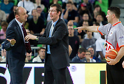 Jure Zdovc, head coach of Union Olimpija and Jaka Daneu of Olimpija  during final match of Basketball NLB League at Final four tournament between KK Union Olimpija (SLO) and Partizan Belgrade (SRB), on April 21, 2011 in Arena Stozice, Ljubljana, Slovenia. Partizan defeated Union Olimpija 77-74 and became NLB league Champion 2011.  (Photo By Vid Ponikvar / Sportida.com)