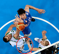 Boban Marjanovic of Serbia between Mirza Begic of Slovenia and Edo Muric of Slovenia during basketball game between National basketball teams of Slovenia and Serbia in 7th place game of FIBA Europe Eurobasket Lithuania 2011, on September 17, 2011, in Arena Zalgirio, Kaunas, Lithuania. Slovenia defeated Serbia 72 - 68 and placed 7th. (Photo by Vid Ponikvar / Sportida)