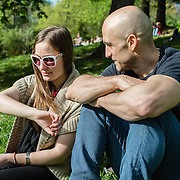 British instructor Edward Hines enjoys time at the Parc des Buttes Chaumont with his partner Aiste.