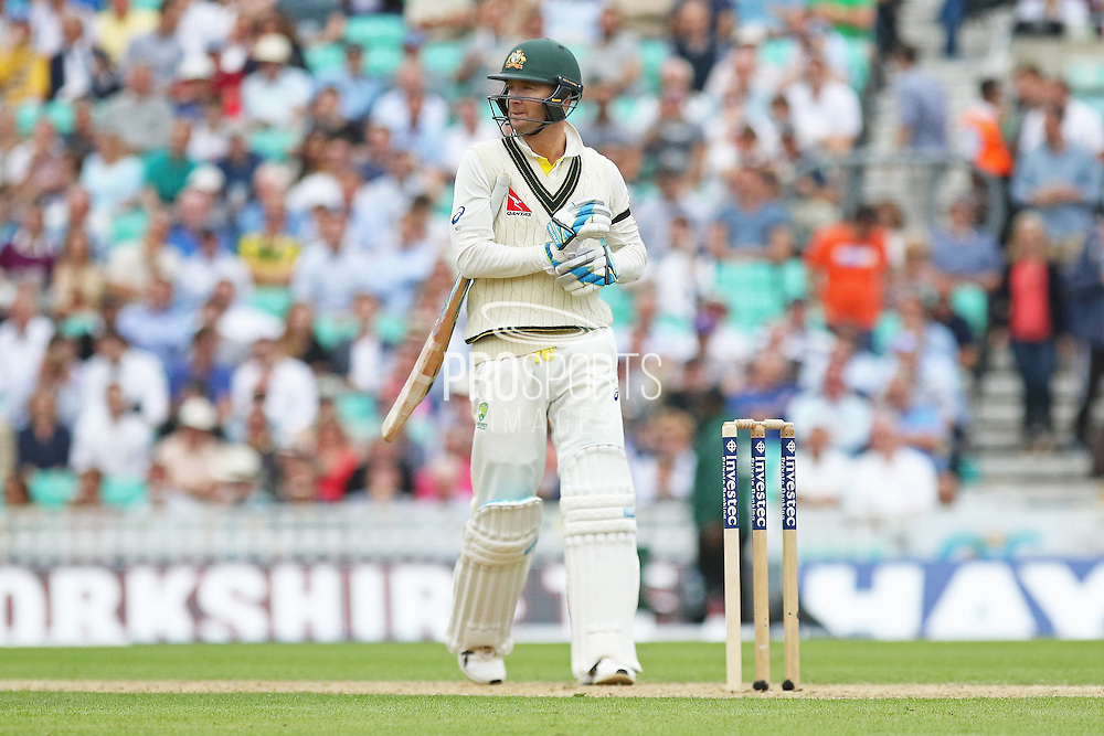Michael Clarke captain of Australia out for 15 during the 1st day of the 5th Investec Ashes Test match between England and Australia at The Oval, London, United Kingdom on 20 August 2015. Photo by Phil Duncan.