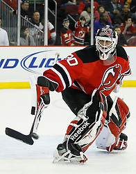 Feb 28, 2009; Newark, NJ, USA; New Jersey Devils goalie Martin Brodeur (30) makes a save during the third period of their game against the Florida Panthers at the Prudential Center. The Devils defeated the Panthers 7-2.