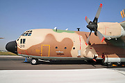 Israel, Tel Nof IAF Base, An Israeli Air force (IAF) exhibition. C-130 Hercules 100 transport plane on the ground