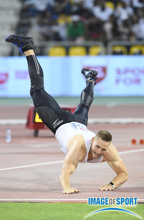 Johannes Vetter (GER) places second in the javelin at 300-4 (91.56m) in the 2018 IAAF Doha Diamond League meeting at Suhaim Bin Hamad Stadium in Doha, Qatar, Friday, May 4, 2018. (Jiro Mochizuki/Image of Sport)