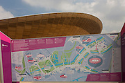 A map and exterior of the £105m Siberian Pine Velodrome curved roof during the London 2012 Olympics. The London Velopark is a cycling centre in Leyton in east London. It is one of the permanent Olympic and Paralympic venues for the 2012 Games. The Velopark is at the northern end of Olympic Park. It has a velodrome and BMX racing track, which will be used for the Games, as well as a one-mile (1.6 km) road course and a mountain bike track.[2] The park replaces the Eastway Cycle Circuit demolished to make way for it. This land was transformed to become a 2.5 Sq Km sporting complex, once industrial businesses and now the venue of eight venues including the main arena, Aquatics Centre and Velodrome plus the athletes' Olympic Village.