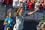 USA forward Carli Lloyd (10) celebrates after scoring a goal against South Korea during an international friendly in Chicago, Sunday, Oct. 6, 2019, in Chicago. USWNT tied the Korea Republic 1-1. (Max Siker/Image of Sport)