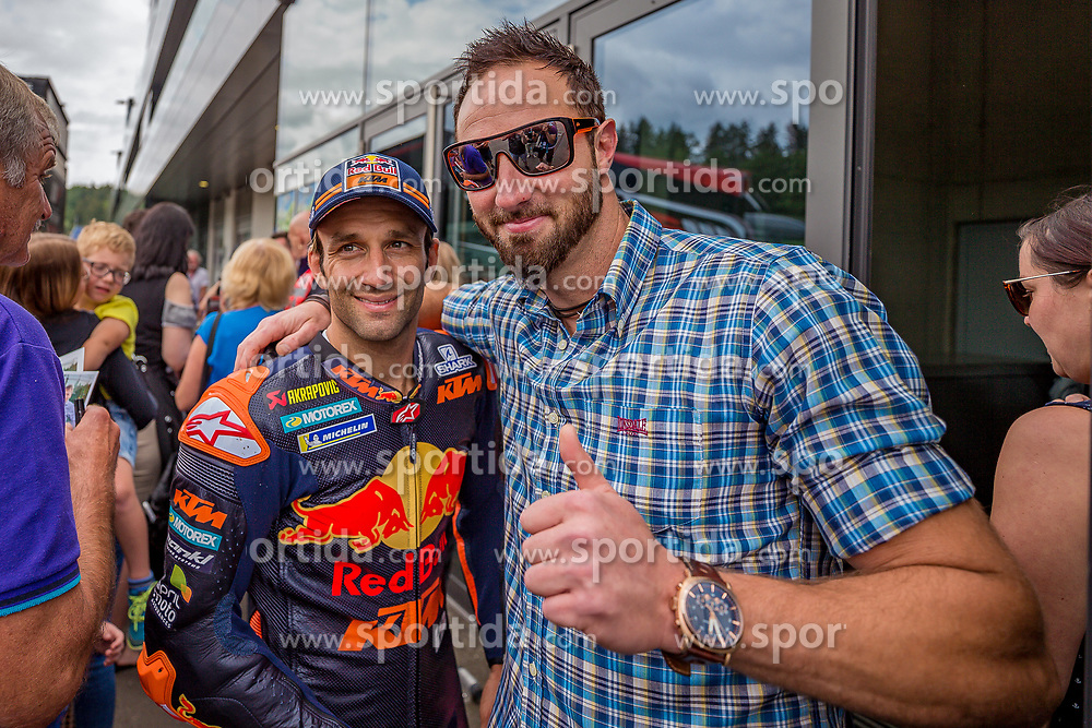 09.07.2019, Red Bull Ring, Spielberg, AUT, Marcel Hirscher mit MotoGP Bike am Red Bull Ring, Pressetermin, im Bild Johann Zarco (FRA) Red Bull KTM Factory Racing // Johann Zarco (FRA) Red Bull KTM Factory Racing during a press event Marcel Hirscher with MotoGP Bike on Red Bull Ring in Spielberg, Austria on 2019/07/09. EXPA Pictures © 2019, PhotoCredit: EXPA/ Dominik Angerer