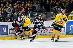 06.01.2019, Ice Rink, Znojmo, CZE, EBEL, HC Orli Znojmo vs Vienna Capitals, 36. Runde, im Bild v.l. Marek Kalus (HC Orli Znojmo) Alex Wall (Vienna Capitals) Nicolas Hlava (HC Orli Znojmo) Matthew Clark (Vienna Capitals) // during the Erste Bank Eishockey League 36th round match between HC Orli Znojmo and Vienna Capitals at the Ice Rink in Znojmo, Czechia on 2019/01/06. EXPA Pictures © 2019, PhotoCredit: EXPA/ Rostislav Pfeffer