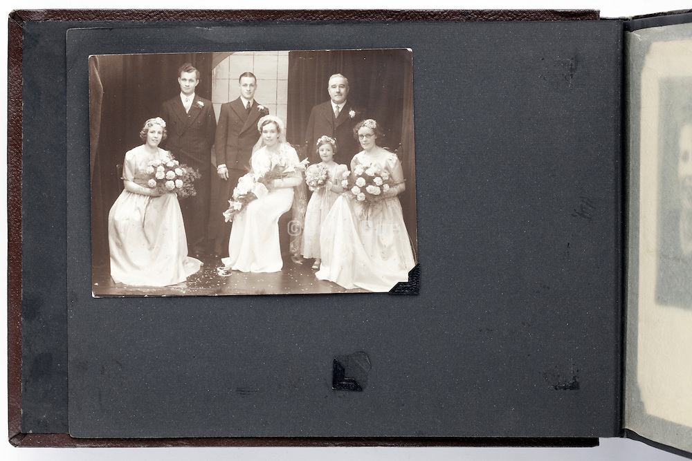 photo album page with vintage wedding studio image England