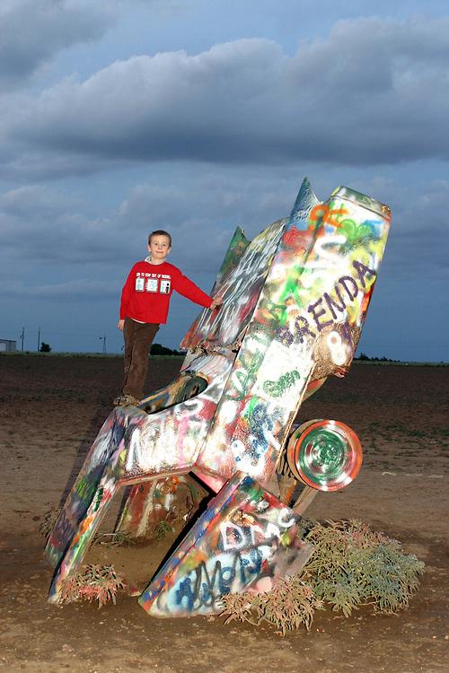 Cadillac Ranch, public art installation and sculpture, Amarillo, Texas, USA.