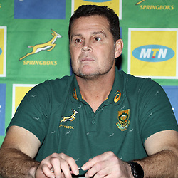 CARDIFF, WALES - NOVEMBER 22: Rassie Erasmus (Head Coach) of South Africa during the South African national rugby team announcement media conference at Hilton Hotel Cardiff on November 22, 2018 in Cardiff, Wales. (Photo by Steve Haag/Gallo Images)