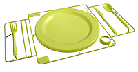 plastic snap tray with green dish set