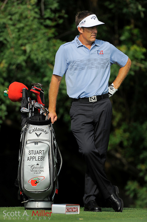 Stuart Appleby with his bag during the third round of the Honda Classic at PGA National on March 3, 2012 in Palm Beach Gardens, Fla. ..©2012 Scott A. Miller.