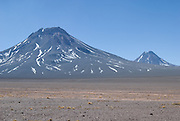 Aguas Calientes volcano(Right) & Acamarachi volcano(Left). Atacama, Chile