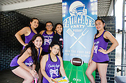 Milby High School Dance Team has lunch before performing at Jones Futures Academy's tailgate party.