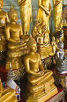 Buddhas in temple at Golden Mount Wat Saket Bangkok Thailand&#xA;<br />