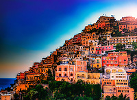 """The colors burst while the evening fades over Positano""...<br />