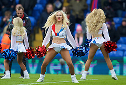 LONDON, ENGLAND - Sunday, March 6, 2016: Crystal Palace cheerleaders The Crystals perform at half-time during the Premier League match against Liverpool at Selhurst Park. (Pic by David Rawcliffe/Propaganda)