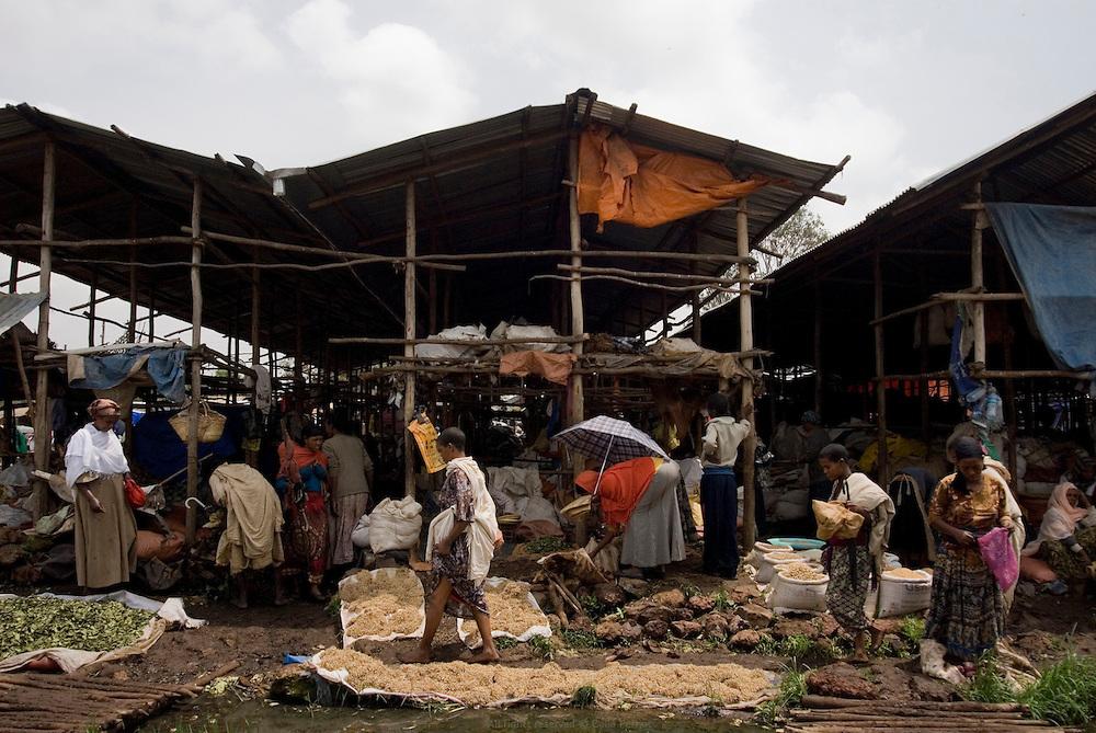 Au bord du Lac Tana, la ville de Bahar Dar est la capitale de la région Amhara et compte 200 000 habitants. C'était autrefois un village de chasseurs, puis un centre d'échange très important pour les caravaniers. Le marché hebdomadaire de Bahar Dar voit affluer tous les fermiers de la région et regorge de céréales, légumes, bestiaux, tissus, miel etc. Éthiopie août 2011.