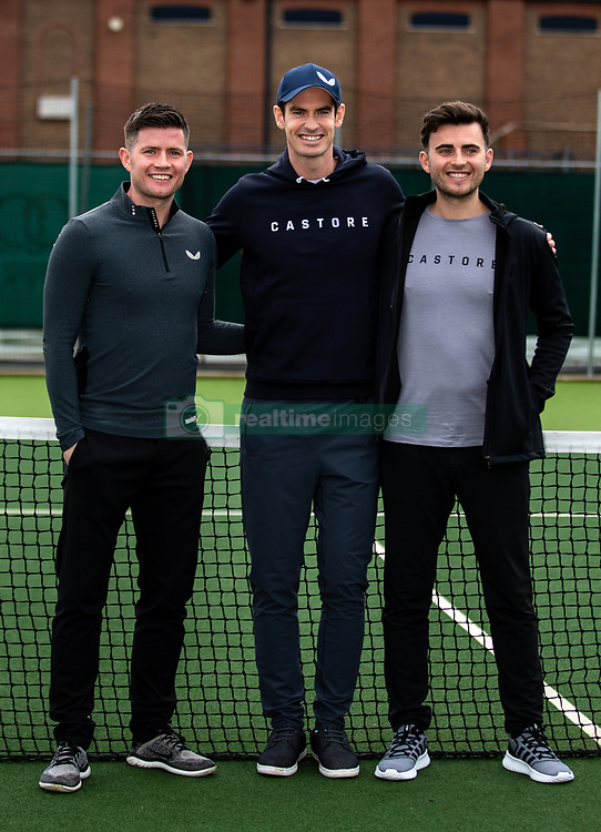 Andy Murray poses with Tom (left) and Phil Beahon during the Castore partnership announcement at the Queen's Club, London.