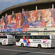 RUS/Moskou/20090509 - Songfestival 2009 Moskou, in de Olympiyski Indoor Arena in Moskou is volgende week de uitzending van het 54ste Eurovison Songfestival, ruim 16.000 bezoekers kunnen hierbij live aanwezig zijn.