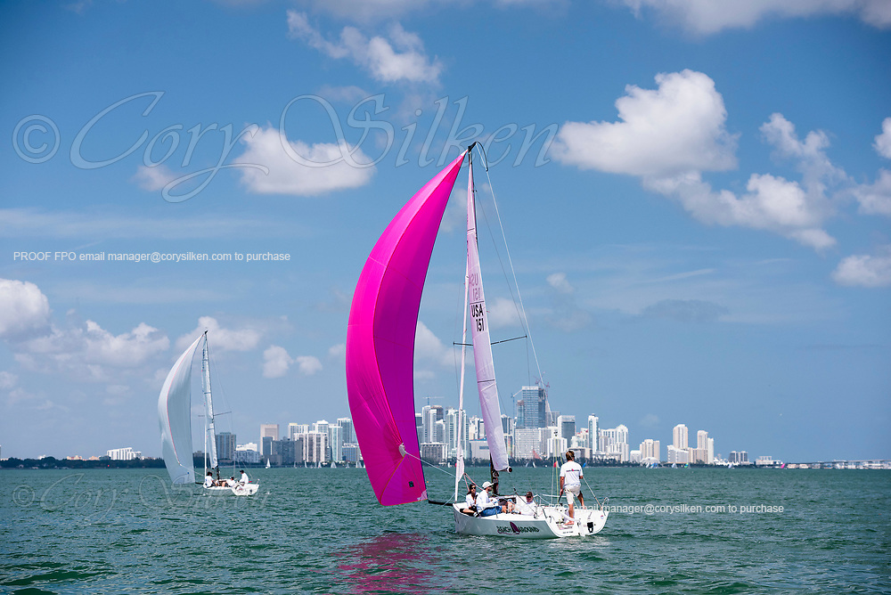 151 J70 Class sailing at Bacardi Miami Sailing Week.