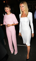 Cameron Diaz and Gwyneth Paltrow arriving for a fundraising dinner for President Obama hosted by Anna Wintour in London, Wednesday, 19th September 2012. Photo by: Stephen Lock / i-Images