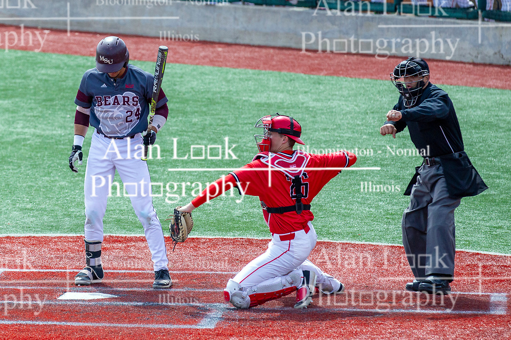 NORMAL, IL - April 08: Shane Cannon makes the called 3rd strike on Drew Millas as Tyson Hays tosses the ball back to the mound during a college baseball game between the ISU Redbirds  and the Missouri State Bears on April 08 2019 at Duffy Bass Field in Normal, IL. (Photo by Alan Look)