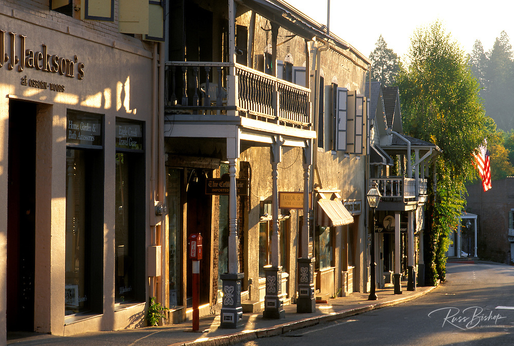 Morning light on shops on Main Street, Nevada City, Gold Country (Highway 49), California