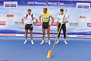 Bled, SLOVENIA,    Men's Single medal Ceremony left Silver medalist GBR M1X,  Alan CAMPELL,  centre lifted Gold Medalist, CZE M1X, Ondrej SYNEK and right GER M1X, Marcel HACKER 1st FISA World Cup. Rowing Course. Lake Bled.  Sunday  30/05/2010  [Mandatory Credit Peter Spurrier/ Intersport Images]