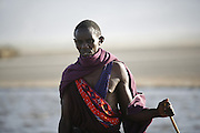 Lake Natron, TANZANIA. August 12th 2009..A Maasai man