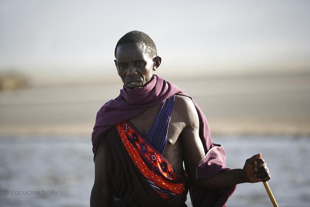 Lake Natron, TANZANIA. August 12th 2009..A Maasai man
