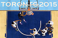 Jul 25, 2015; Toronto, Ontario, CAN; United States center Ryan Hollins (15) dunks the ball against Dominican Republic guard Miguel Dicent (4) in the men's basketball bronze medal game during the 2015 Pan Am Games at Ryerson Athletic Centre. Mandatory Credit: Peter Casey-USA TODAY Sports
