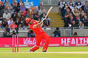 Liam Livingstone of Lancashire hits the ball to the boundary for four runs during the Vitality T20 Finals Day Semi Final 2018 match between Worcestershire Rapids and Lancashire Lightning at Edgbaston, Birmingham, United Kingdom on 15 September 2018.