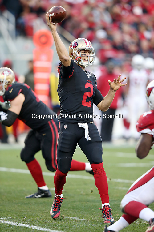San Francisco 49ers quarterback Blaine Gabbert (2) throws a pass during the 2015 week 12 regular season NFL football game against the Arizona Cardinals on Sunday, Nov. 29, 2015 in Santa Clara, Calif. The Cardinals won the game 19-13. (©Paul Anthony Spinelli)