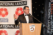 Dave Sharpe during the National League Gala Awards Evening at Celtic Manor Resort, Newport, South Wales on 9 June 2018. Picture by Shane Healey.