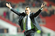 Derby County manager Darren Wassall hails the travelling fans after his teams 3-2 win over Bristol City during the Sky Bet Championship match between Bristol City and Derby County at Ashton Gate, Bristol, England on 19 April 2016. Photo by Graham Hunt.