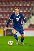 Lewis Ferguson (#19) of Scotland U21 (Aberdeen) during the U21 UEFA EUROPEAN CHAMPIONSHIPS match between U21 Scotland and U21 Greece at Tynecastle Park, Edinburgh, Scotland on 15 November 2019.
