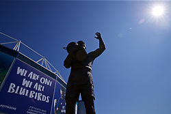 CARDIFF, WALES - Saturday, April 20, 2019: A statue of Cardiff City's FA Cup winning caption Fred Keenor pictured in front of the Cardiff City Stadium ahead the FA Premier League match between Cardiff City FC and Liverpool FC. (Pic by David Rawcliffe/Propaganda)
