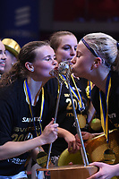 2019-04-27 | Stockholm, Sweden: Täby FC IBK celebrities during the game between KAIS Mora IF and Täby FC IBK at Ericsson Globe Arena ( Photo by: Simon Holmgren | Swe Press Photo )<br /> <br /> Keywords: Ericsson Globe Arena, Stockholm, Floorball, SM-Final, KAIS Mora IF, Täby FC IBK