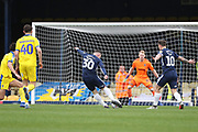 Southend United attacker Harry Bunn (30) with a shot on goal during the EFL Sky Bet League 1 match between Southend United and AFC Wimbledon at Roots Hall, Southend, England on 16 March 2019.