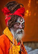 Naga Sadhu in Juna Akhara. Maha Kumbh Mela festival, world's largest congregation of religious pilgrims. Allahabad, India.