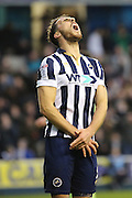 Millwall striker Lee Gregory (9) with mouth open looking at the sky during the The FA Cup 3rd round match between Millwall and Bournemouth at The Den, London, England on 7 January 2017. Photo by Matthew Redman.