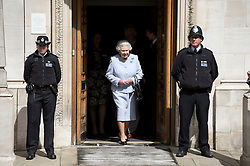 © London News Pictures. 15/06/2013. London, UK. HRH Queen Elizabeth II, leaving at The London Clinic on Harley Street, London after visiting Prince Philip, Duke of Edinburgh,on the day of Trooping The Colour, the Queens birthday celebration.  Prince Philip is currently recovering after undergoing a planned operation to cure abdominal pains. Photo credit: Ben Cawthra/LNP