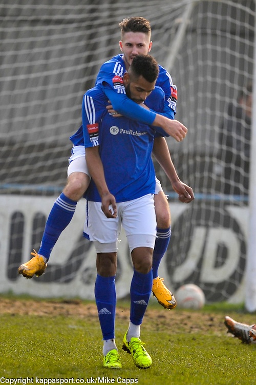 BILLERICAYS JORDAN COX CELEBRATES HIS SECOND GOAL, BILLERICAYS JORDAN COX CELEBRATES AFTER SCORING BILLERICAYS EQUALISER AND HIS FIRST GOAL,  Billericay Town v Dulwich Hamlet  Ryman League Saturday 12th March 2016, Score 4-1