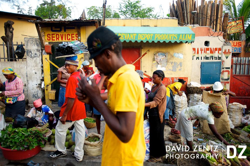 A sidewalk farmer's market in Port au Prince, Haiti., on May 11, 2012.