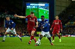 LIVERPOOL, ENGLAND - Sunday, March 3, 2019: Liverpool's captain James Milner (L) and Everton's Yerry Mina during the FA Premier League match between Everton FC and Liverpool FC, the 233rd Merseyside Derby, at Goodison Park. (Pic by Laura Malkin/Propaganda)