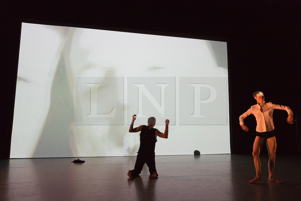 """© Licensed to London News Pictures. 09/10/2015. London, UK. Pictured: Marlieke Burghouts and Nick Bryson performing. Robin Dingemans & Nick Bryson's """"The Point At Which It Last Made Sense"""" is performed at the Lilian Baylis Studio at Sadler's Wells on 9 October 2015. Performers: Nick Bryson, Michael Turinsky and Marlieke Burghouts. Photo credit: Bettina Strenske/LNP"""