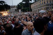 Roma, 12 Maggio 2014<br /> Manifestazione dei Movimenti per il diritto all'abitare hanno contestato il Presidente del Consiglio Matteo Renzi che parlava sul palco di piazza del Popolo per la manifestazione conclusiva del Partito Democratico in vista delle elezioni europee di domenica. Attivisti dei Movimenti per la Casa sono stati fermati dalla Polizia.Nella foto: I militanti del Partito Democratico allontanano dalla piazza gli attivisti dei Movimenti per la Casa<br /> Rome, May 12, 2014 <br /> Manifestation of the movements for housing rights, objected to the Chairman of the Board, Matteo Renzi, who spoke on stage at the Piazza del Popolo to the closing event of the Democratic Party in the European elections on Sunday. Activists of the Movement for the House were stopped by the police. In pictures: Militants of the Democratic Party away from the square, the activists of the movements for the house