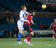13th February 2018, Rugby Park, Kilmarnock, Scotland; Scottish Premiership football, Kilmarnock versus Dundee; Scott Boyd of Kilmarnock competes in the air with Sofien Moussa of Dundee
